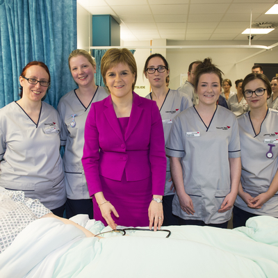 First Minister Nicola Sturgeon visiting the Clinical Skills Suite
