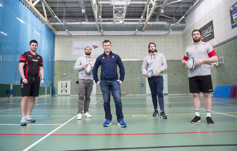Students from the new Business and Enterprise in Sport BA course in a rugby and curling event