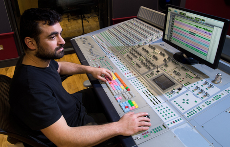 Man using the recording facilities at Merchiston Campus