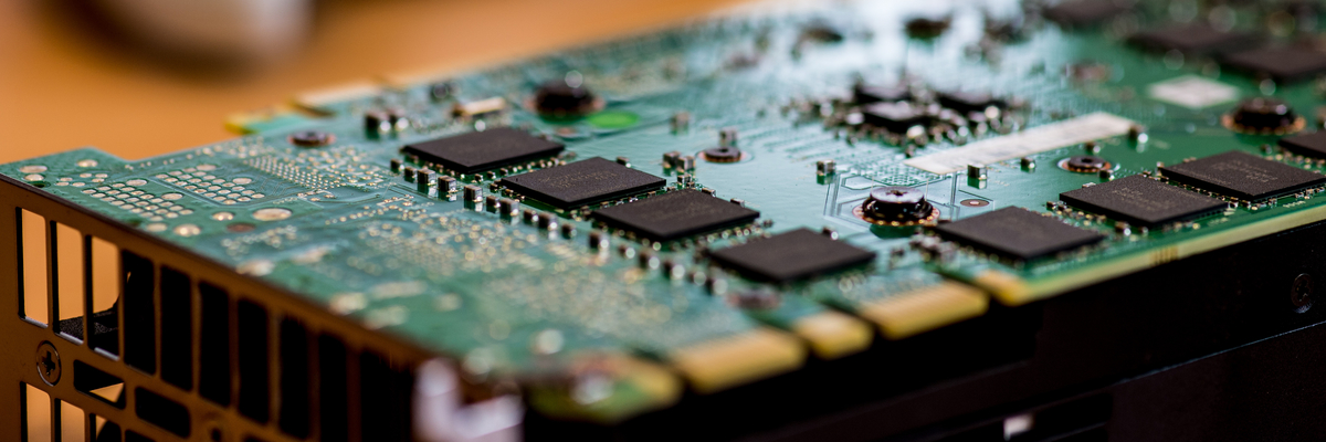 Close up of computer circuit board.