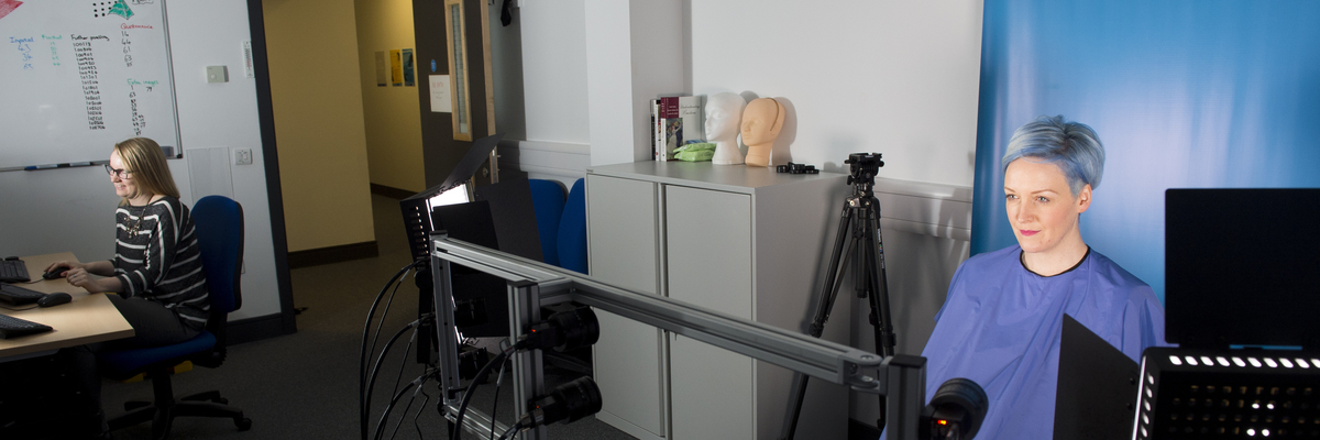 Facial recognition camera in use in a psychology lab in Napier University