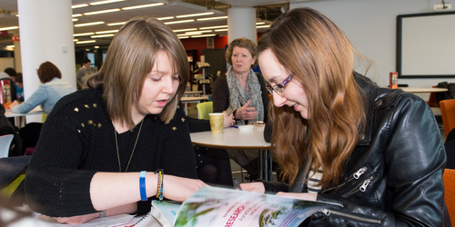 Social Science students working in the university library
