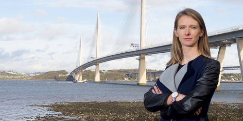 Civil Engineering alumni Emily Alfred at the Queensferry Crossing bridge which she worked on.