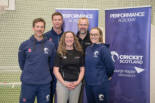 The Cricket Scotland team with Edinburgh Napier's Dr Susan Brown