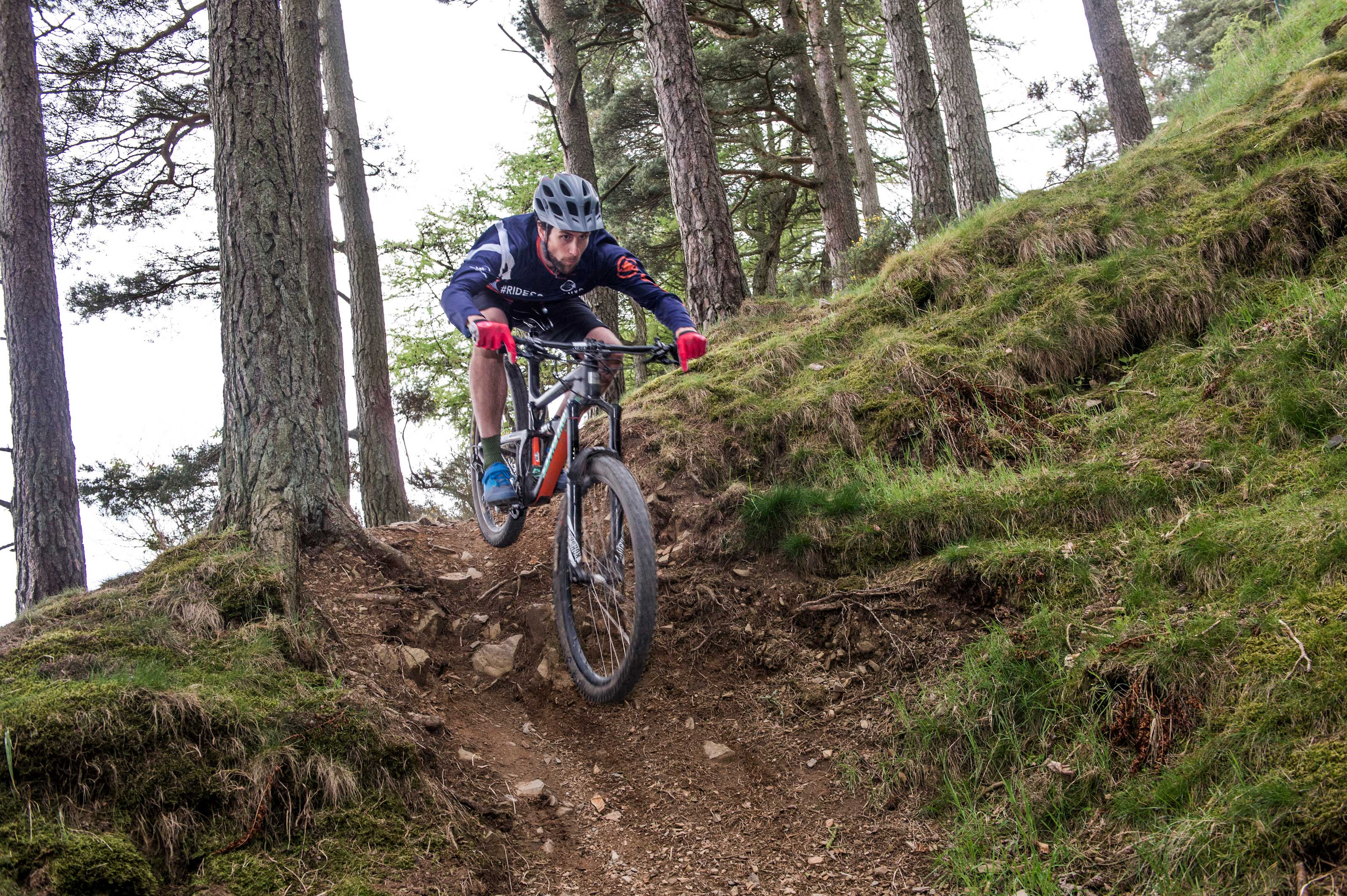 A mountain biker at Glentress