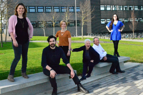 CATE team, led by Mark Huxham, on and around the benches at the Sighthill campus