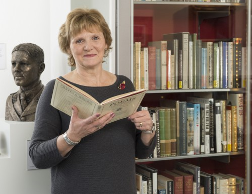 Curator Catherine Walker at the War Poets Collection at the Craiglockhart campus