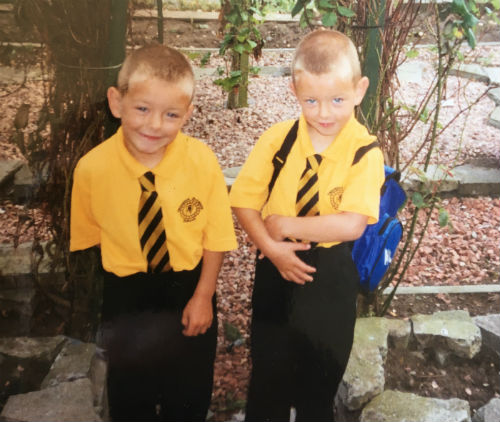 Twins Connor and Callum Clark at Primary School, left/right unknown, even to them