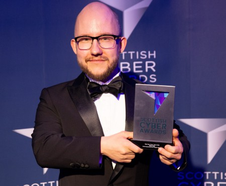 Peter Aaby with his award at the Scottish Cyber Awards