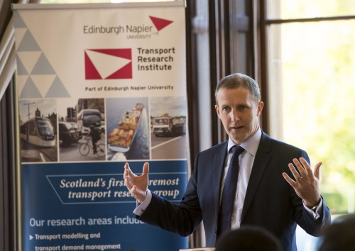 Michael Matheson MSP, Cabinet Secretary for Transport, addressing fourth annual Electric Vehicle Event