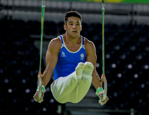 Kelvin Cham in gymnastics action