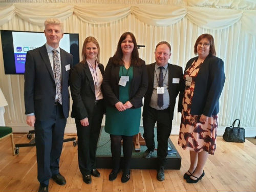 - left to right - John Rogers, Chief Executive, The Workforce Development Trust; Rachel Williams, Chief Superintendent, Avon and Somerset Police; Pauline Crellin, Director of External Affairs, Strategic Design and Planning (Universal Credit Programme), Department for Work and Pensions; Jon Parry, Head of Research, The Workforce Development Trust; and Dr Kirsteen Grant, Associate Professor, Edinburgh Napier University.