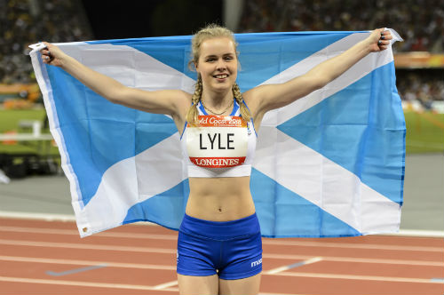 Maria Lyle with saltire after her silver medal triumph at the Gold Coast 2018 Commonwealth Games.