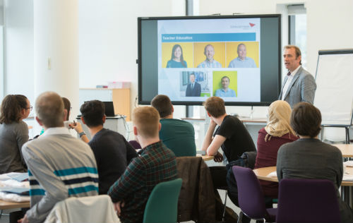 Andrew Gallacher introduces the first cohort of student teachers to the university