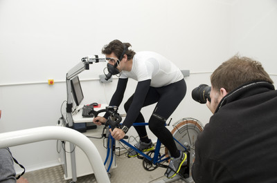 Mark Beaumont, cyclist and adventurer, in the environmental chamber at Sighthill campus
