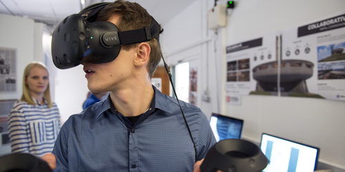 Image of student with virtual reality headset on