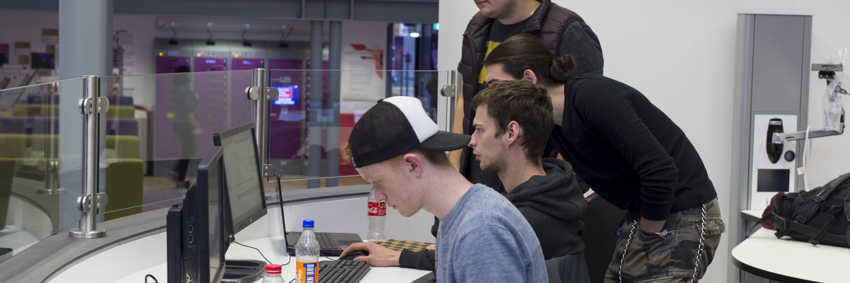 Students at work in the collaborative area