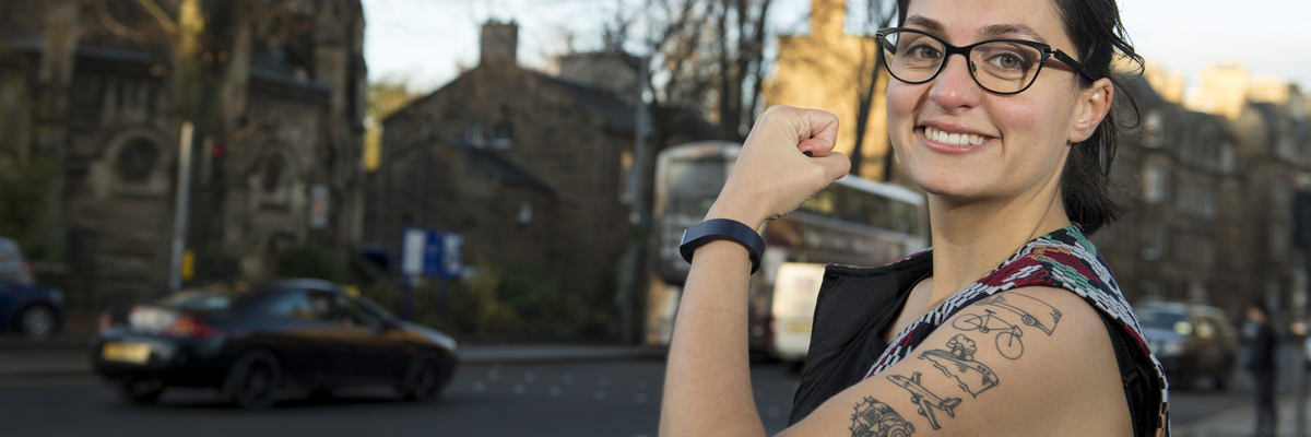 Transport researcher Emine Akgun with tattoos