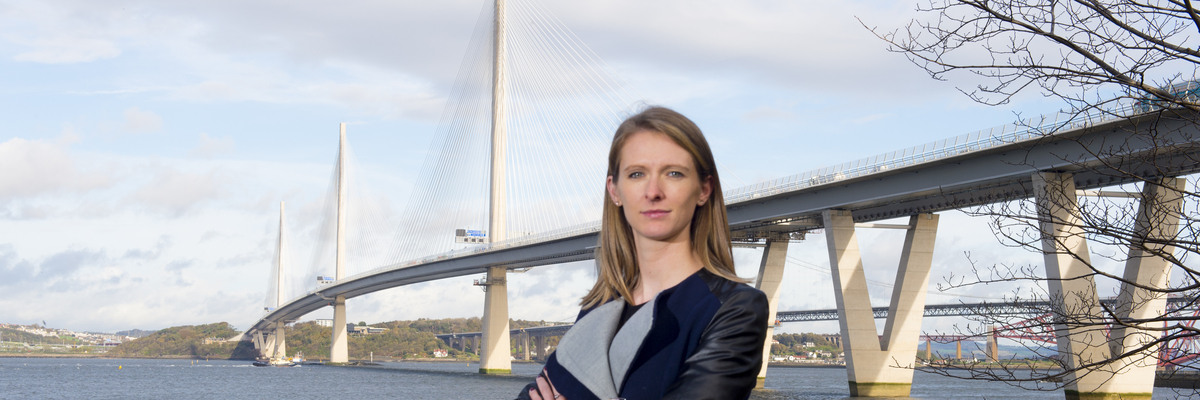 Civil Engineering alumni Emily Alfred at the Queensferry Crossing bridge