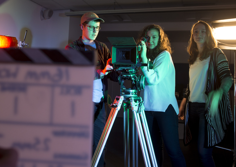 Film students on set